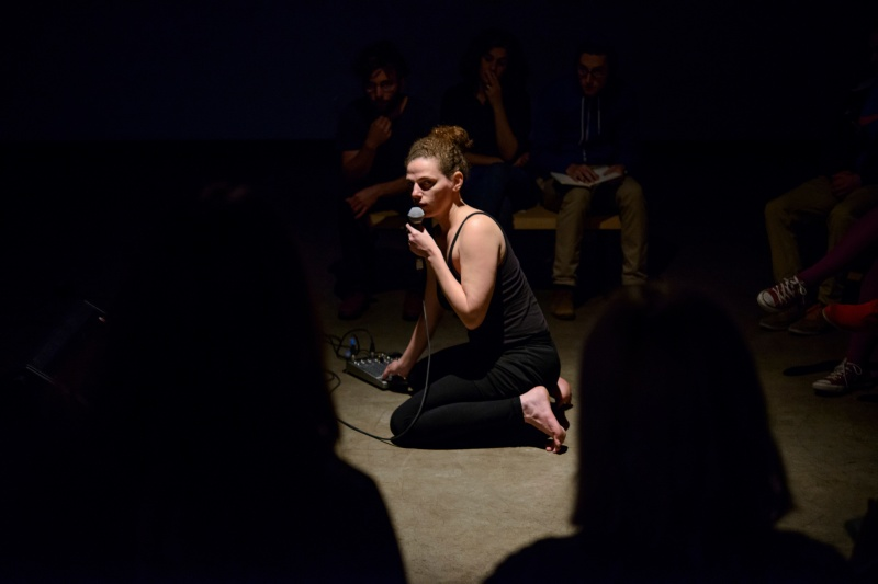 "Canada, Edmonton. Sept/21/2015. Latitude 53 Visualeyez 2015. Luciana D'AnunciaÁ""o performance - 'The Sound Between'."